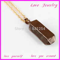 1PC Popular Brown Gem Stone Crystal Drusy Gem Pendant 22K Gold Plated Snake Chain Statement Necklace