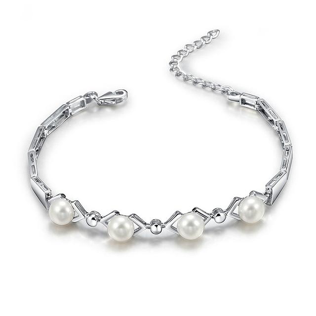 Women Freshwater Pearl 925 Sterling Silver Bracelet