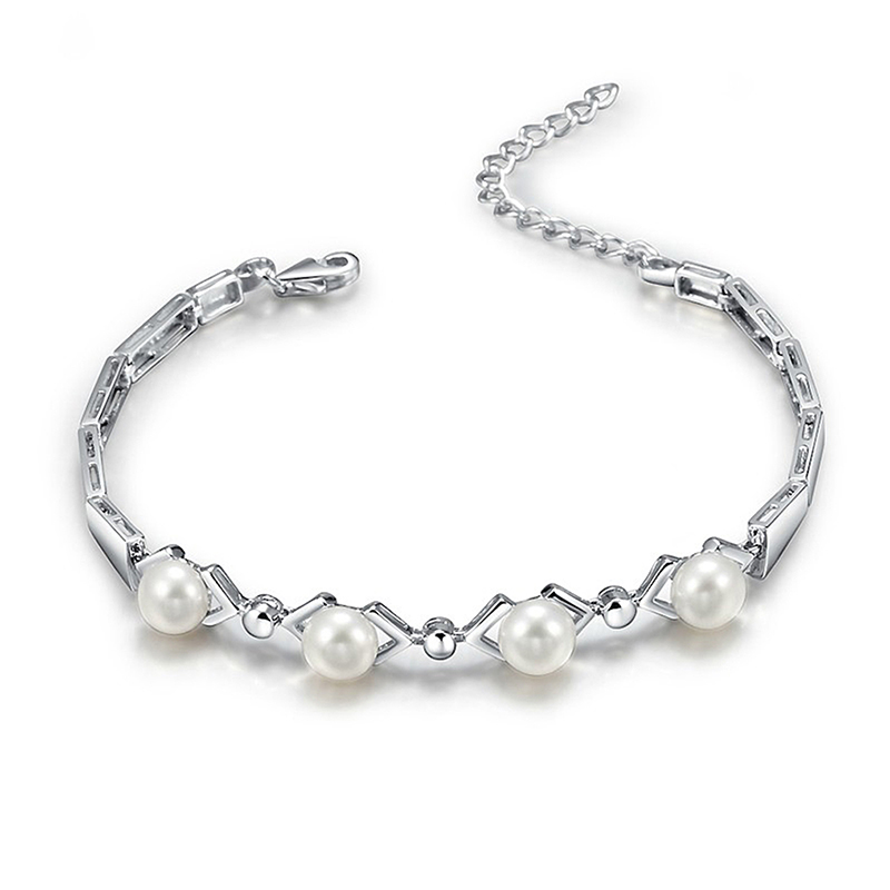 Sinya 925 sterling silver bracelet for women with AAA freshwater pearls best for lover christmas birthday party gift 2017 Hot image