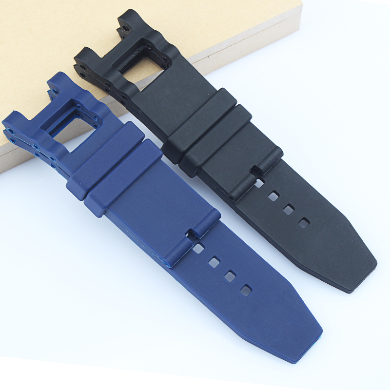 7c05d56aa39 Watchband New Men s 28mm X 16mm Black   Blue Silicone Rubber Diver Watch  Band Strap Replacement