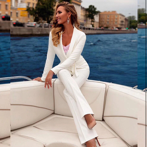 Image 5 - 2020 new fashion red white women set sexy long sleeved jacket & pants 2 pieces two piece casual party office pants suit set