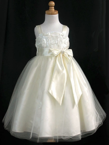 little girls ball gown with bow first communion dresses customized size