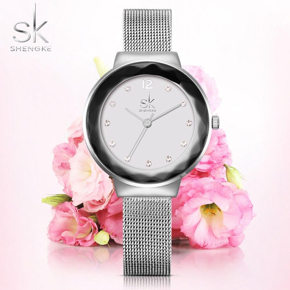 SK New Fashion Women Watches Stainless Steel Silver Wrist Watches Luxury Ladies Rhinestones Clock Quartz Watch Montre Femme 2018 недорого