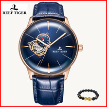 2019 Reef Tiger/RT Designer Casual Watch Mens Convex Lens Rose Gold Blue Dial Automatic Watches for Men Gift Relogio Masculino