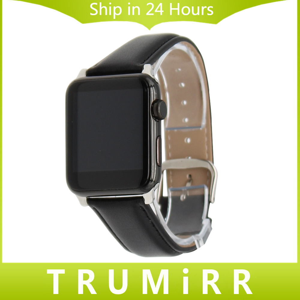 Genuine Leather Watchband + Adapters for 38mm 42mm iWatch Apple Watch Band Stainless Steel Pin Buckle Strap Bracelet Black Brown genuine leather watchband alligator grain for iwatch apple watch 38mm 42mm stainless steel butterfly clasp band strap bracelet