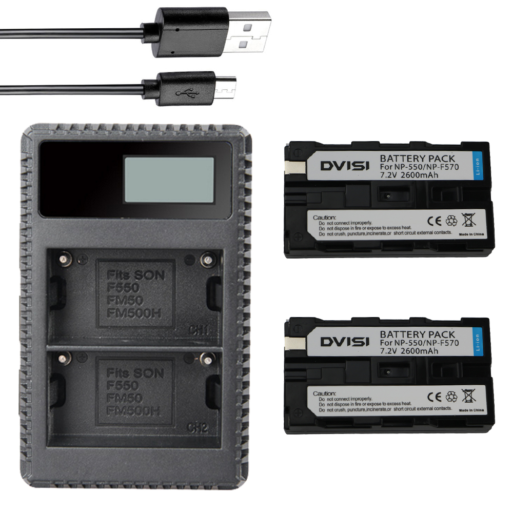 NP-F550 2x Batteries + NP-F530 NP F550 F570 Charger for Sony NP-F570 CCD-SC55 CCD-TRV81 DCR-TRV210 MVC-FD81 NP-F730 NP-F750 Hi-8
