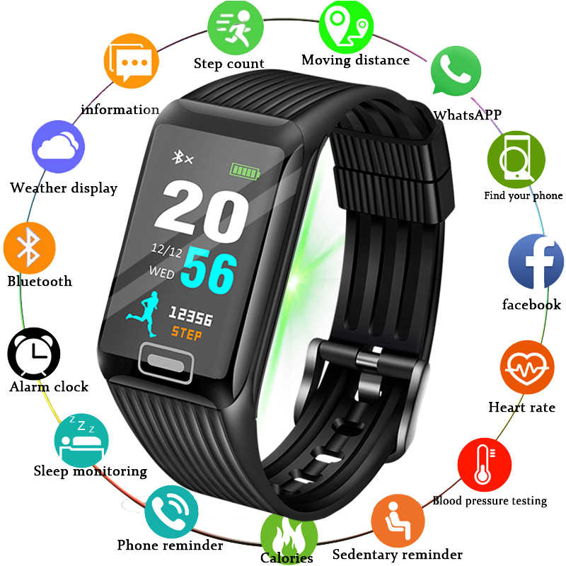Ini 2019 Baru Smart Watch Pria Heart Rate Tekanan Darah Monitor Kebugaran Tracker Smart Gelang Olahraga Pedometer Watch Smart Band