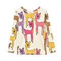 2016 Meninas Veados Sika Animais Outono Inverno Imprimir T-shirt Longo Da Luva Para Crianças T camisas Crianças T-camisa Enfant