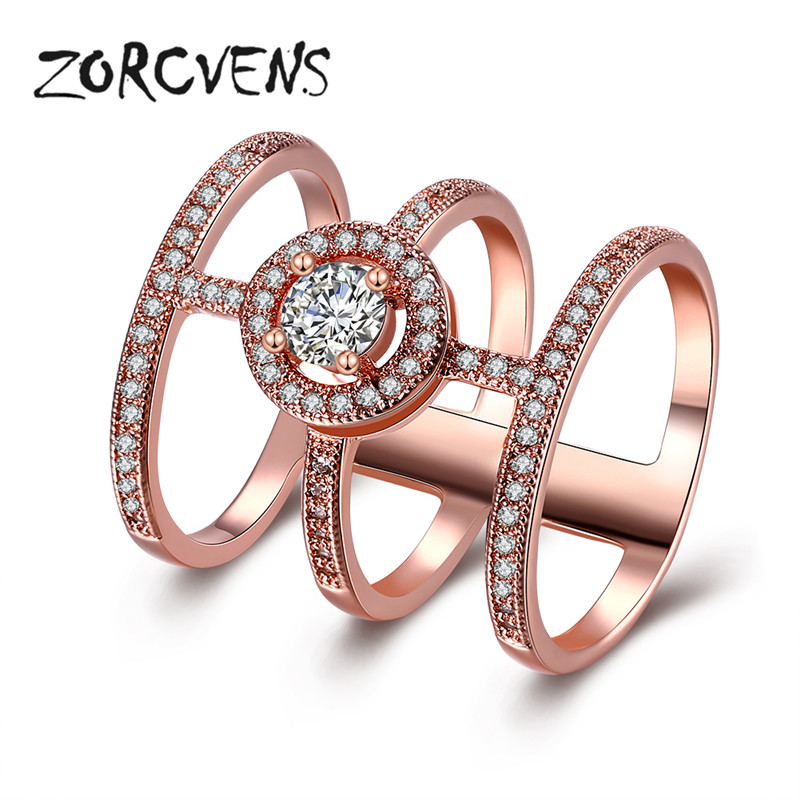 ZORCVENS New Cross Ring Rose Gold Color 3 Circle Connected Big Round CZ Pave Micro Zirconia Party Jewelry Gifts