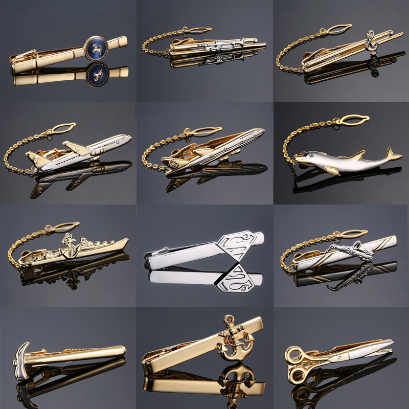 Fashion Metal Men Tie Clip Gentlemen Classy Necktie Tie Bar Clasp Clip Pin Dolphin Hammer Aircraft Ship Wedding Tie Men Jewelry