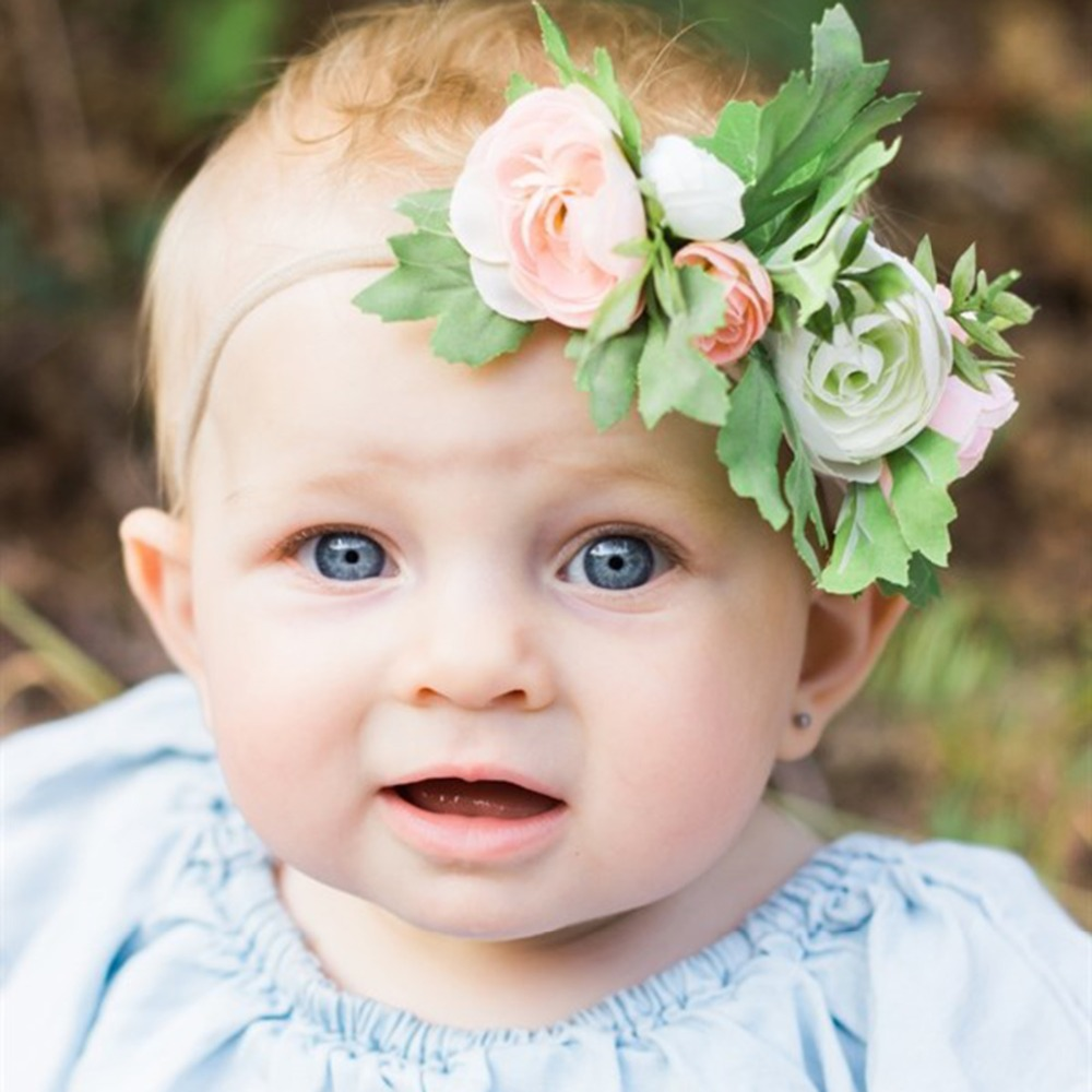 Puseky Baby Rose Flower Crown Headband For Baby Girl Wedding Party