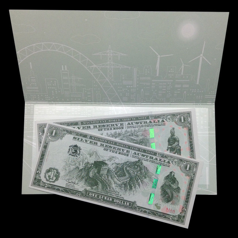 Set 2 PCS, Silver Reserve Australia, 2017, In Folder, Tourism, Great Wall, UNC, Collectibles Gift, Genuine, Original Paper Notes