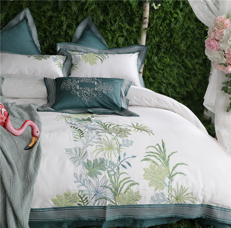 Luxury 100S Egypt Cotton Quiet Nature Bedding Set Embroidery Soft Duvet Cover Bed Sheet Pillowcases Queen King size 4/6/7PcsLuxury 100S Egypt Cotton Quiet Nature Bedding Set Embroidery Soft Duvet Cover Bed Sheet Pillowcases Queen King size 4/6/7Pcs