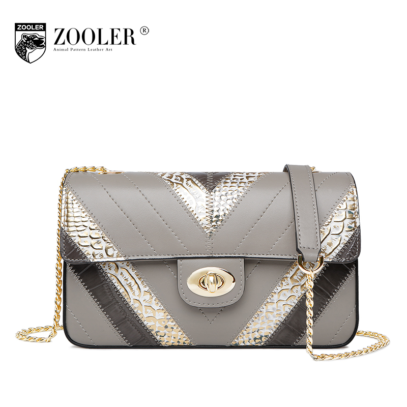 ZOOLER Cow Genuine Leather Bag 2018 Spring Women Casual Chains Patchwork Shoulder Bag Ladies Fashion Small Flap Messenger Bags 2017 fashion women s handbag women messenger bag cow leather small square bag shoulder bag ladies bag 0869