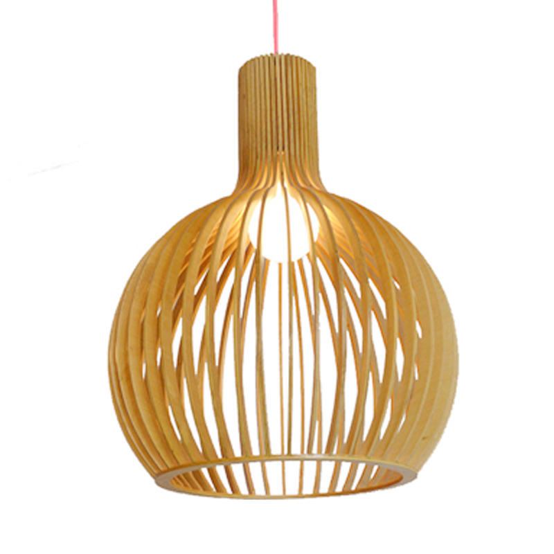 Modern Solid Wood E27 Bulb Pendant Lamp New Chinese Wooden Light For home deco living room bird cage pendant Light Fixture e27 pendant light hanging lamp iron bird cage modern light for home garden coffee room decoration