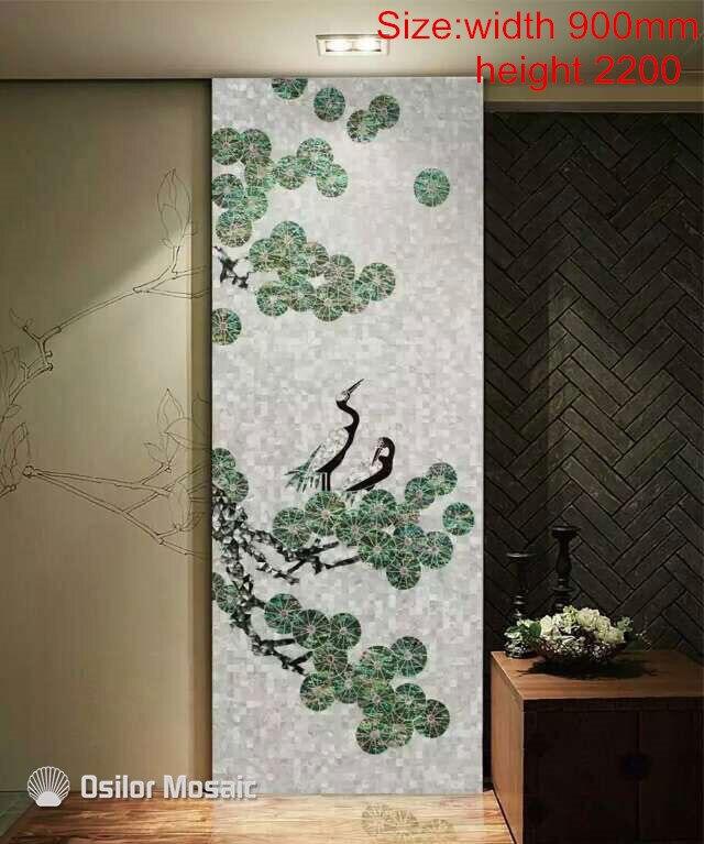 Customized Handmade Mosaic Art Mother Of Pearl Mosaic Tile Art Murals For Interior House Decoration Bird Pattern