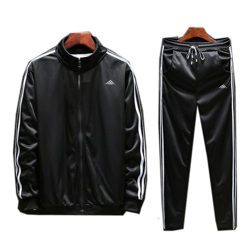 Men Full TrackSuit Jacket Top Sport Suit Sets Pants Trouses Pants Strips Active
