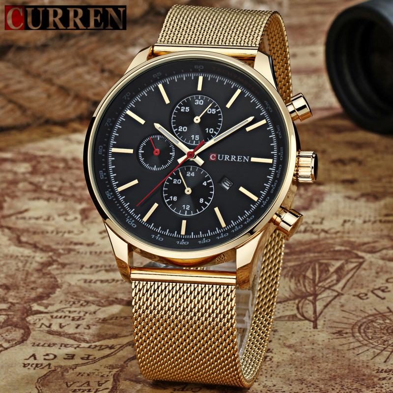 Men Watches CURREN Gold Quartz Watch Mens Full Steel Sport Wristwatches Male Fashion Casual Date Analog Clock Relogio Masculino
