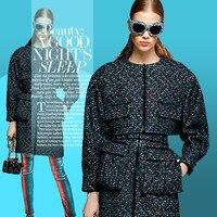 Navy blue wool tweed fabric 560grams per square