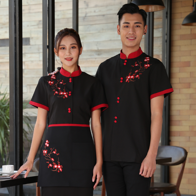 Short Sleeve Working Clothes 2019 Summer Hotel Flower Print Shirt+Apron Set Coffee Shop Waiter Uniform Cheap Restaurant Workwear