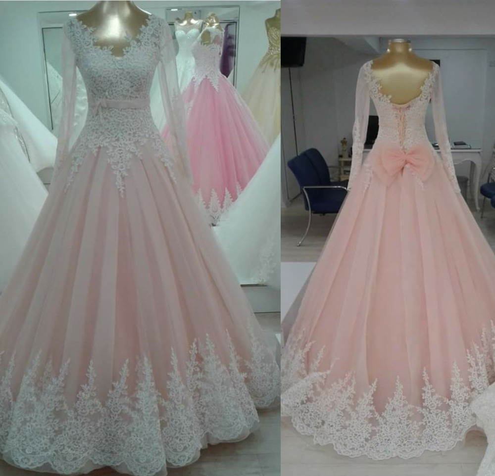 Wedding Gowns In Pink: AW7 Long Sleeves Lace Custom Made Fashionable Plus Size