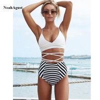 2018 Women Striped High Waist Bikini Set Strappy Push Up Swimwear Female Two Piece Sexy Bandea