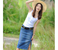 2014 New Korea Style Recreational Women Denim Skirts Pencil Skirts New Casual Long Jean Skirt Free