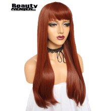 ANOGOL BEAUTY New High Temperature Fiber Unice Hair Peruca Natural Long Straight Dark Orange Synthetic Cosplay Wig With Bangs(China)
