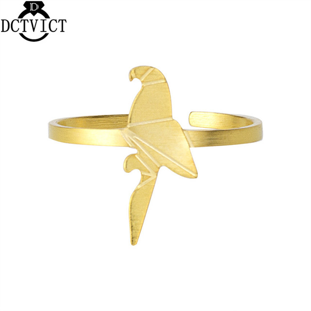 DCTVICT Origami Parrot Rings For Women Men Jewelry Stainless Steel Knuckle Rings 2017 New Bridesmaids Gift Animal Bague BFF