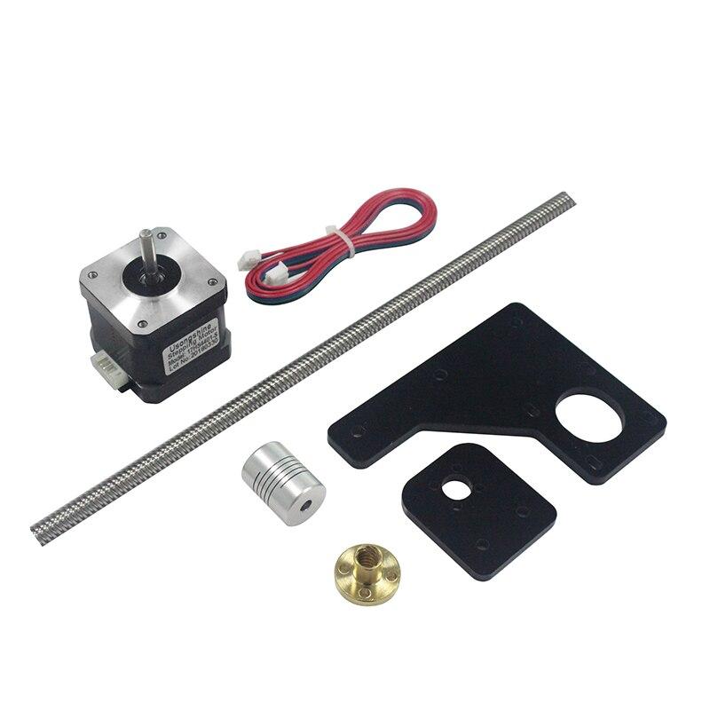 Double Z Axes Mise À Niveau Kit Nema 17 42 moteur pas à pas et T8 * 2 plomb vis 375mm 8mm avec laiton cuivre pour TEVO Tarantula 3D Imprimante Pièces