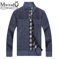 Mwxsd brand winter mens warm plaid cotton cardigan sweater mens thick cashmere cardigan male slim fit sweater plus size 3xl
