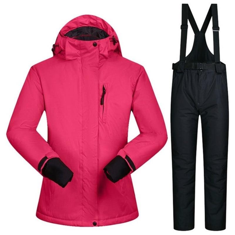 3bc7870a07f Súper cálido traje de esquí traje de las mujeres de invierno a prueba de  viento mujer chaqueta de esquí trajes de pantalón impermeable 10 K mujer  montaña de ...