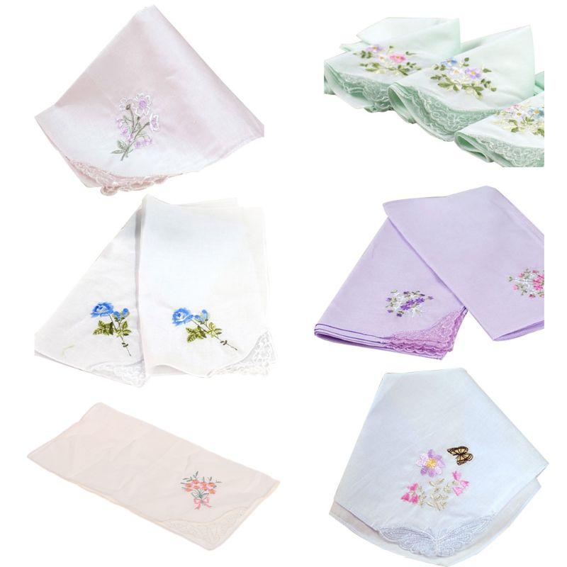 3Pcs/Set 29x29cm Women Square Handkerchief Floral Embroidered Candy Color Pocket Hanky Lace Patchwork Cotton Portable Towel