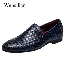 b7ae43521 Calçados Casuais dos homens de Moda Homens Mocassins Deslizar Sobre Sapatos  Formal Respirável Flats Tecelagem Sapatos Masculinos.