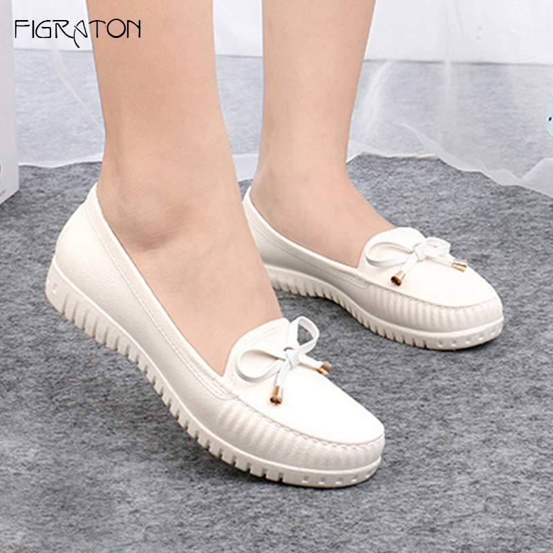 Figraton Women's Flats Shoes Spring Autumn Female Loafers Slip On Casual Solid Color Butterfly-knot Soft Leather Round Toe cootelili 36 40 plus size spring casual flats women shoes solid slip on ladies loafers butterfly knot pointed toe soft shoes