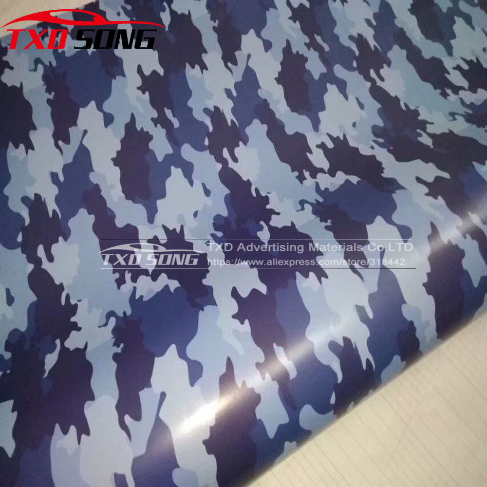 New Arrival Navy blue Camo Car styling Truck Body Rearview Mirror Decal Camouflage Vinyl Film Wrap Air Bubble PVC Stickers Bomb