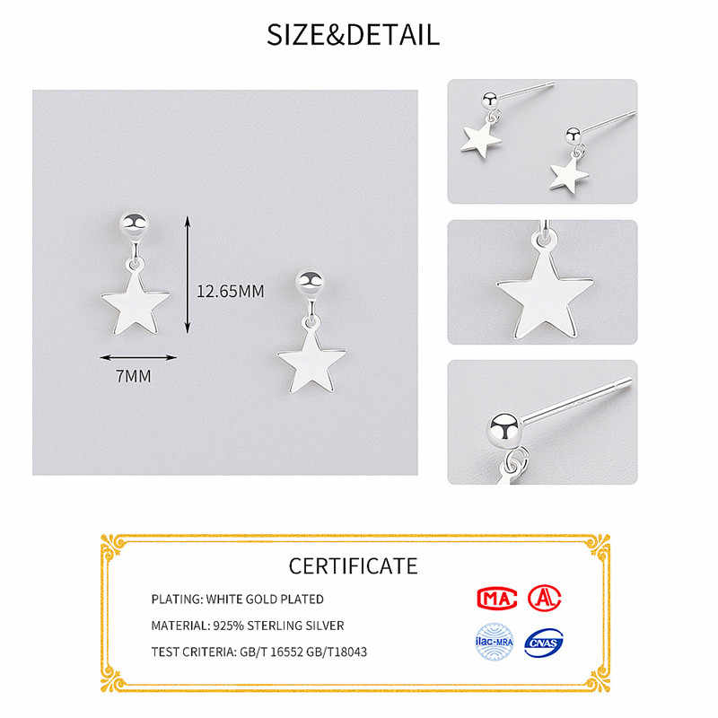 Inzatt Minimalis Menjuntai Drop Anting-Anting Geometris Bintang Permukaan Mengkilap 925 Sterling Perak untuk Wanita Anniversary Fashion Perhiasan