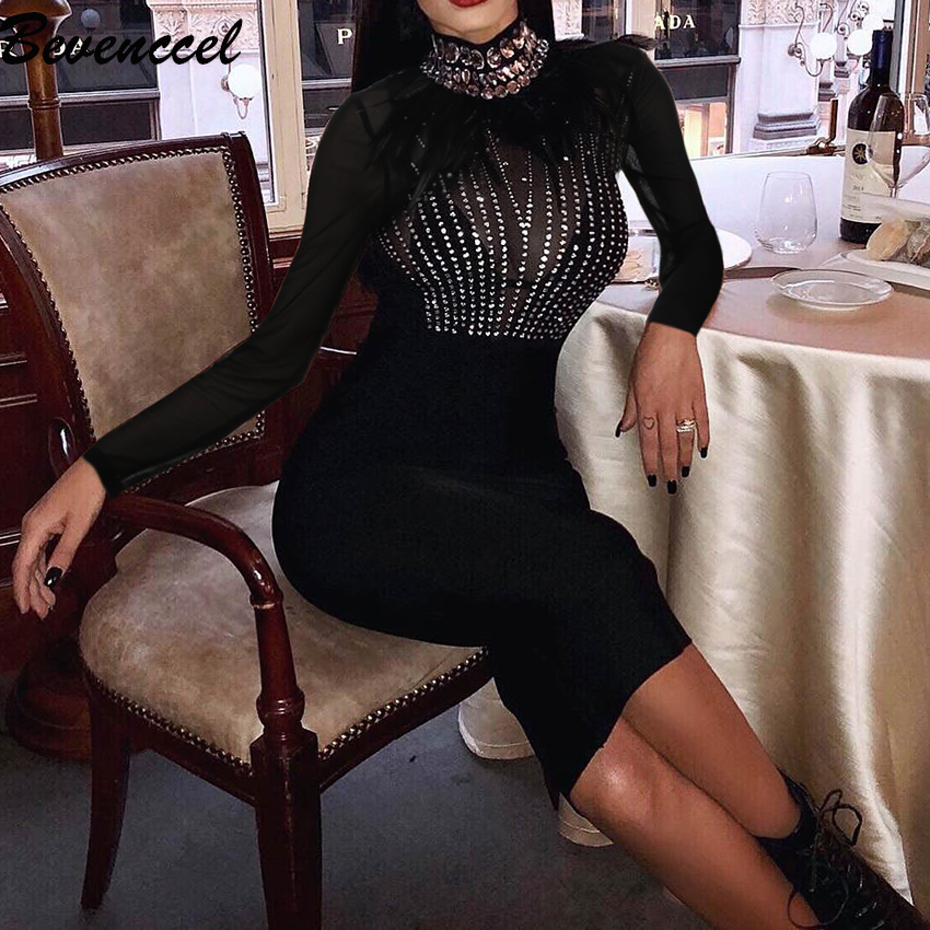 2019 New Chic Black Women Dress Long Sleeve Mesh Patchwork Sequins Feather Bandage Dress Celebrity Party