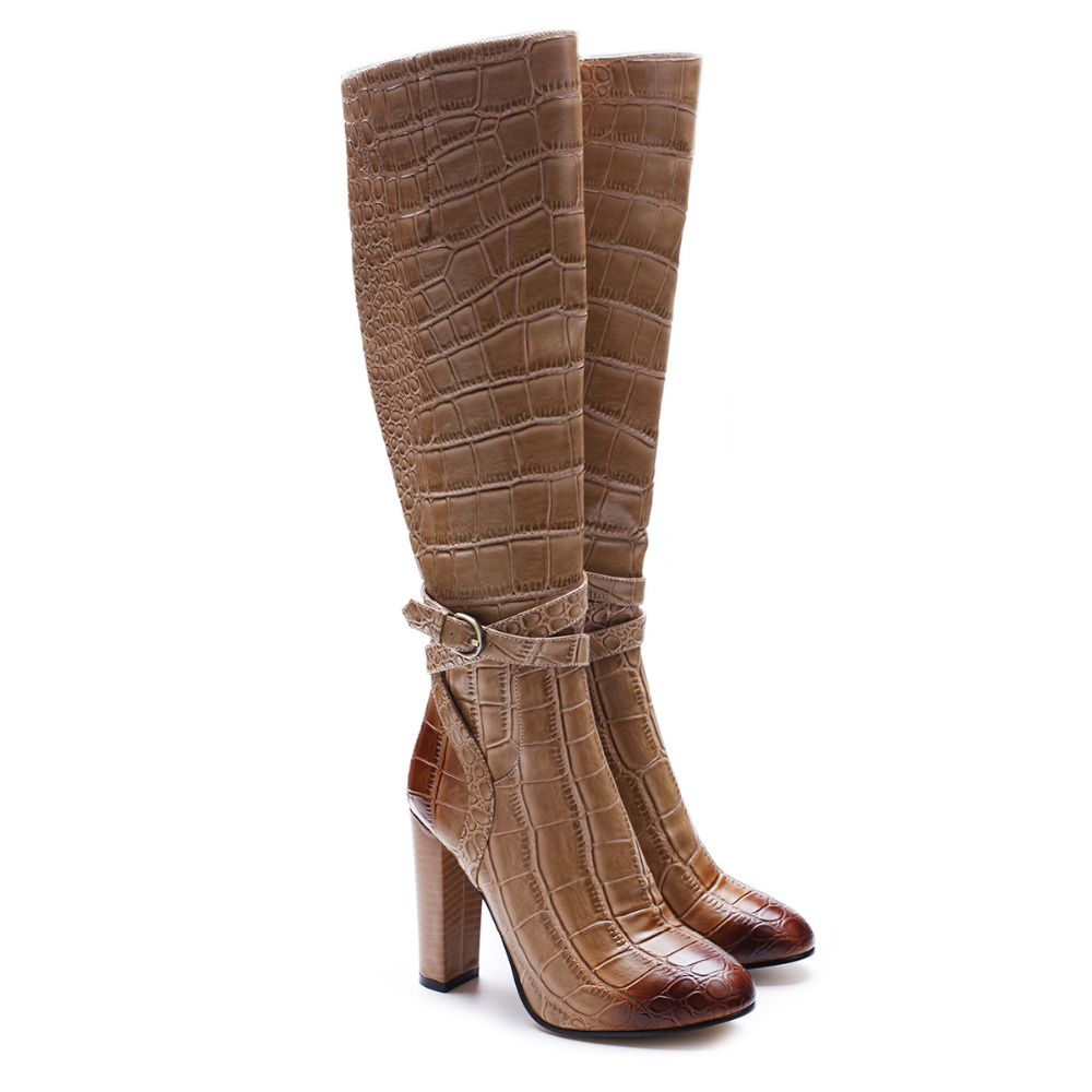Women Brown Alligator Pattern Pointed Toe Side Zipper Boots Concise Style Ankle Buckle Decoration High Square Heel Winter ShoesWomen Brown Alligator Pattern Pointed Toe Side Zipper Boots Concise Style Ankle Buckle Decoration High Square Heel Winter Shoes