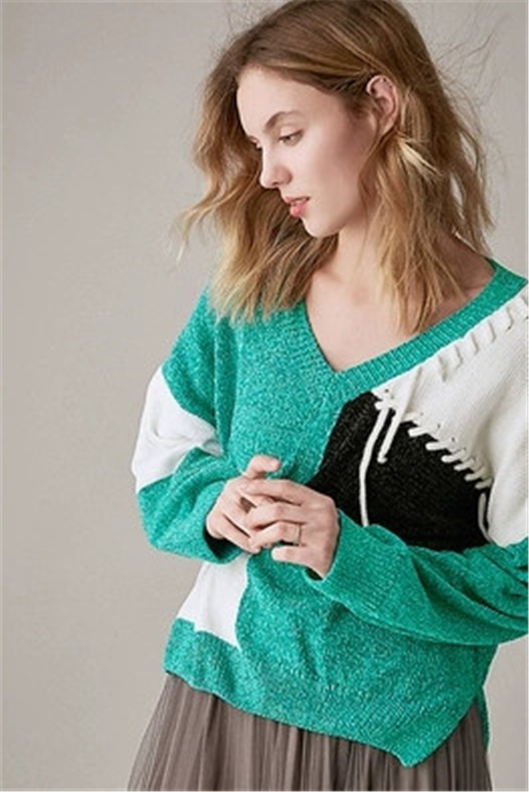 Femmes Taille Chauve Tricot Col 100 amp; souris Patchwork Pull À Polyester Lâche La Fait One Style Chandail Green Sur En V Main Pn0Rw0Yq