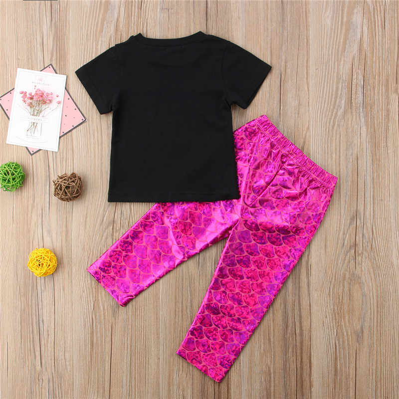 2018 Yeni Yaz Çocuklar Bebek Kız Unicorn t-shirt + Pembe Mermaid Tayt Pantolon 2 ADET Kıyafetler Set Çocuk günlük kıyafetler Setleri