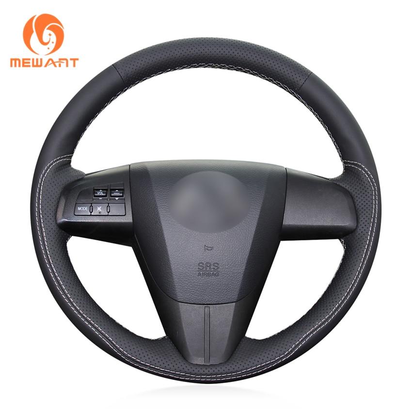 MEWANT Black Genuine Leather Car Steering Wheel Cover for Mazda 3 Axela 2008-2013 Mazda CX-7 CX7 2010-2016 Mazda 5 2011-2013 aosrrun car accessories sew genuine leather car steering wheel cover for chery tiggo 3 2011 2012 2013