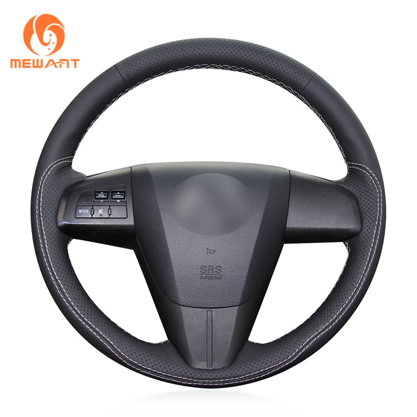 MEWANT Black Genuine Leather Car Steering Wheel Cover for Mazda 3 Axela 2008-2013 Mazda CX-7 CX7 2010-2016 Mazda 5 2011-2013 задний диффузор axela sport для mazda 3 2013 2017