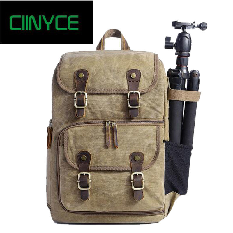 2018 New Men's Vintage Waxed Canvas Water Proof Crazy Horsehide Cow Skin Camera Backpacks Travelling Large Back Packs Bags 2018 new arrival vintage canvas soft back packs bags men s preppy style retro brown yellow travelling school laptop backpacks