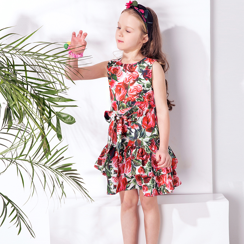 Kids Dress Girls Clothes 2017 Brand Girls Summer Dresses with Bow Rose Flower Layered Princess Dress for Children