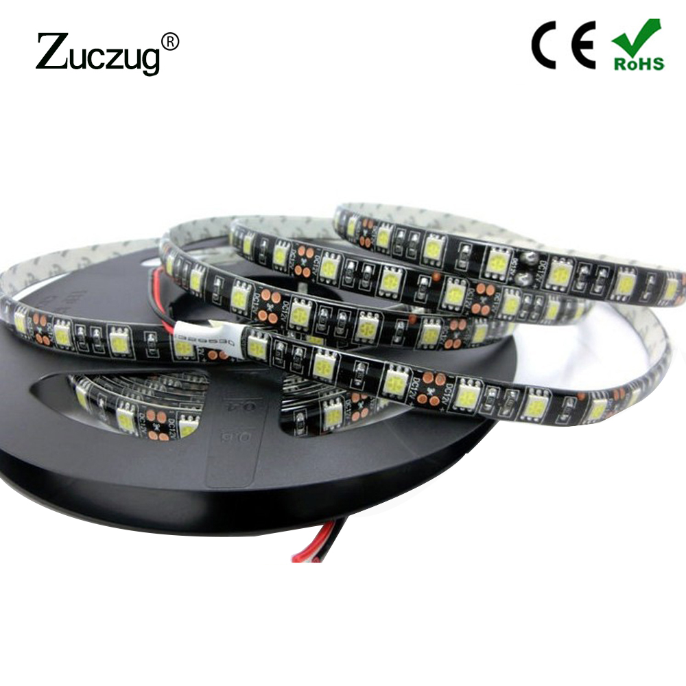 LED Strip 12 V 5050 RGB Farge Vanntett Fleksibel DC 12V Neon Light 5m IP20 IP65 LedStrip Tape Lamp Diode Ribbon for PC Room