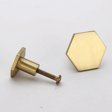 Hexagon Brass Kitchen Cabinet Knobs Modern Drawer Dresser Furniture Cupboard Pulls-10Pack