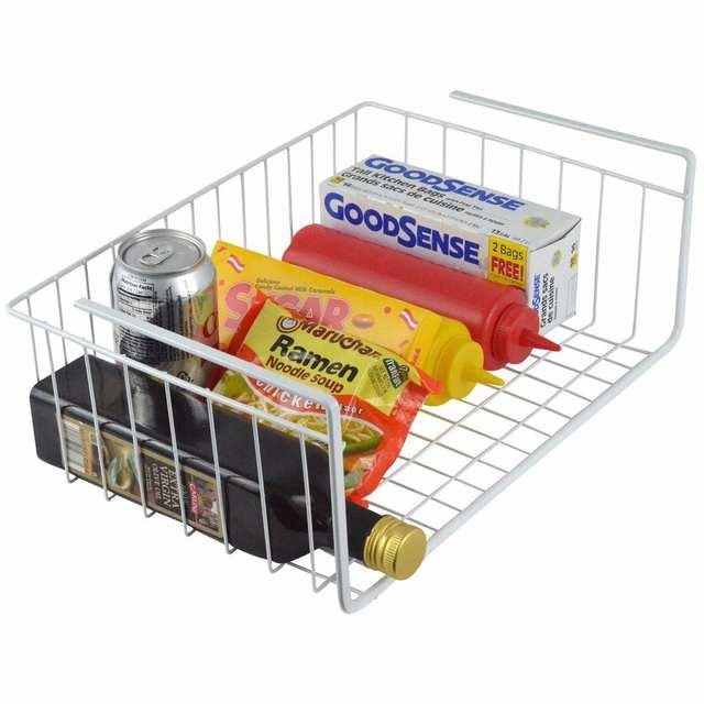 Silver Under Shelf Table Storage Basket Racks Kitchen Bathroom Wire Mesh Grid Cabinet Organizer Closet Container Case