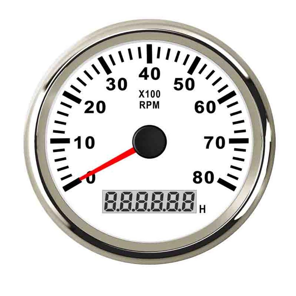 85mm waterproof marine boat tachometer gauge with hour meter 8000rpm 6000rpm tachometer gauge 9v 32v fit universal car boat [ 1000 x 1000 Pixel ]