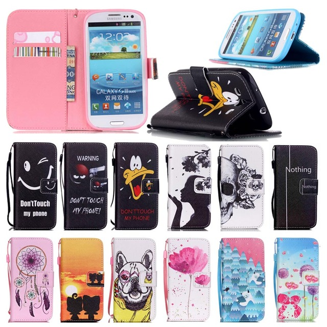 Stand Style Magnet Flip Wallet Cover Leather Cartoon Paiting Pattern Soft Case For Samsung Galaxy S3 GT-i9300 Neo DUOS i9300i